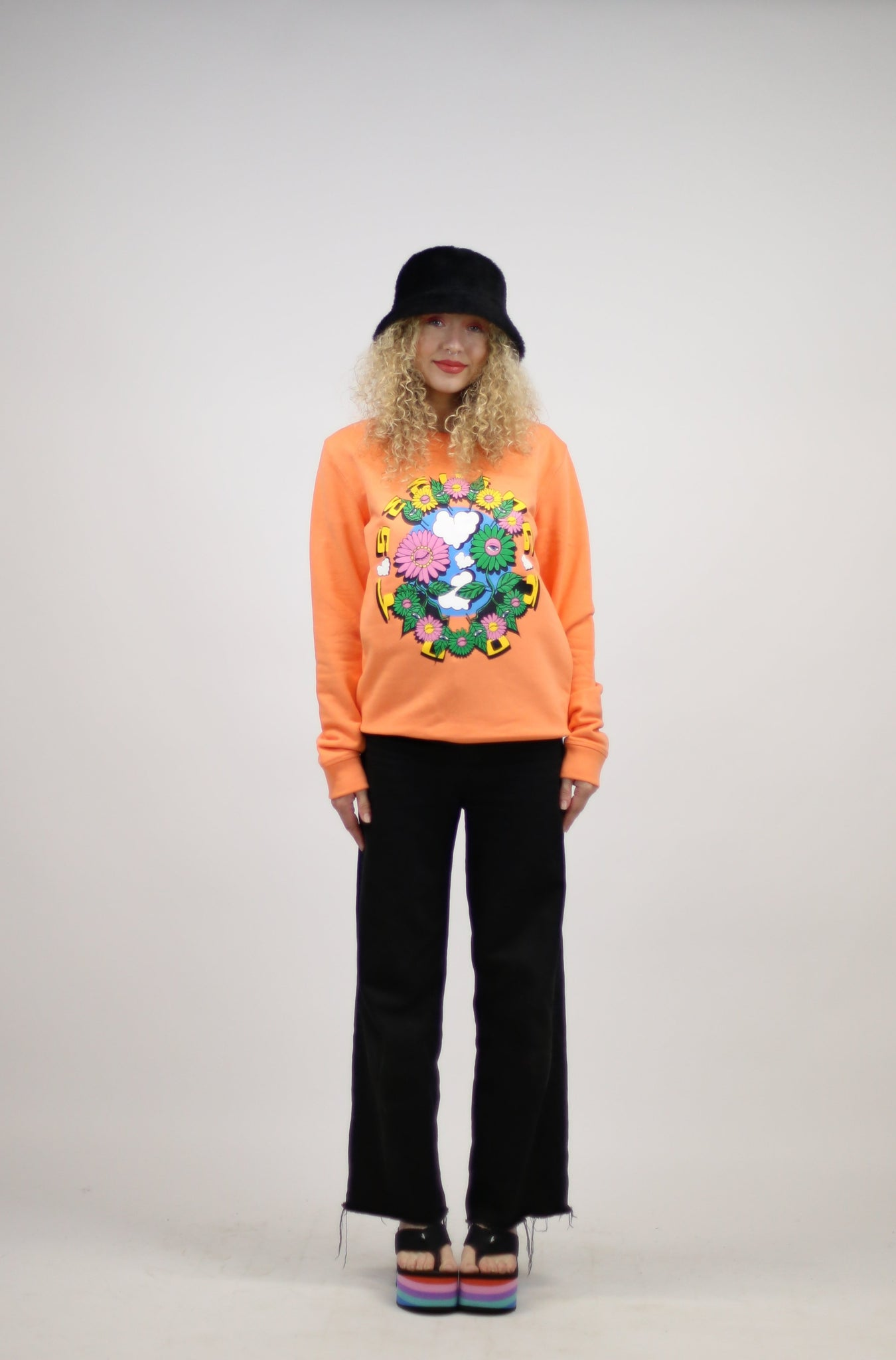 'Plant Friends' Peach Organic Cotton + Recycled Polyester sweatshirt