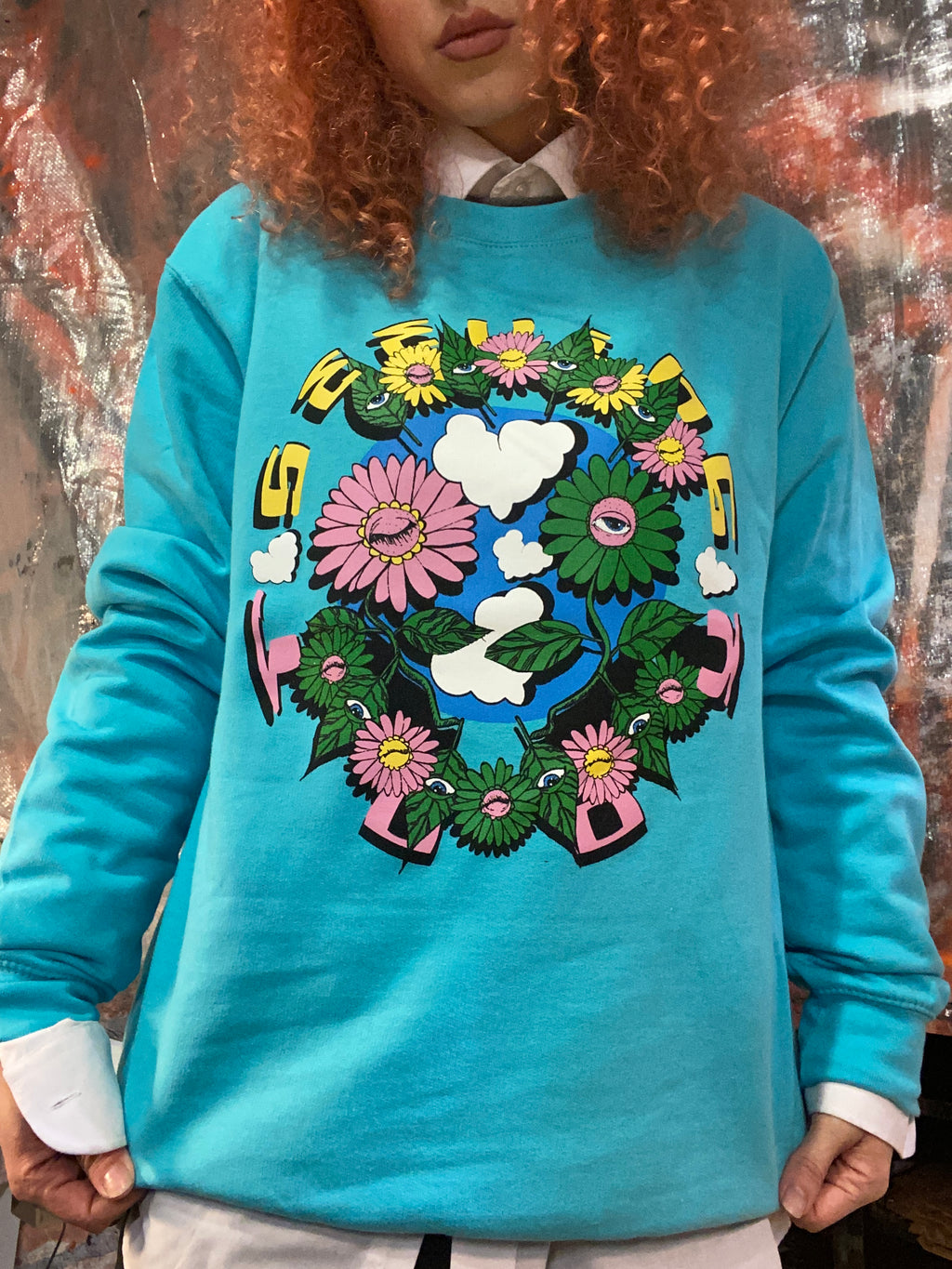 Plant friends Aqua sweatshirt