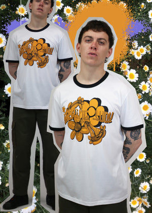'Flower power' Organic cotton ringer t-shirt