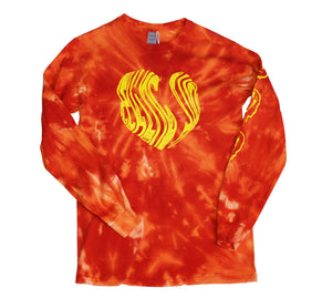 'Luv SJ' Orange Long Sleve Tie dye t-shirt