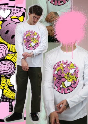 'Melty Flowers' Organic cotton long sleeve t-shirt