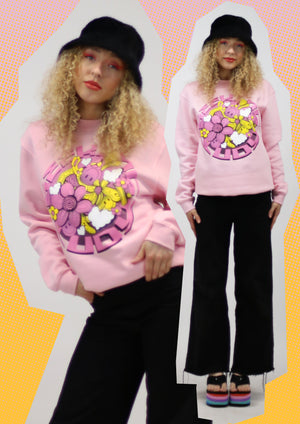 'Melty Flowers' Organic Cotton + Recycled Polyester sweatshirt
