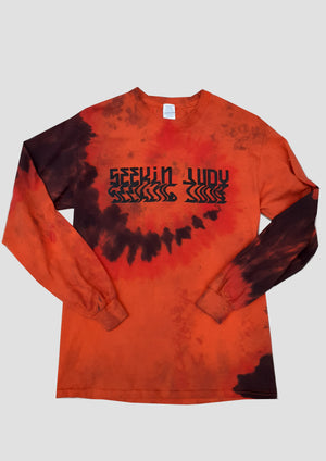 Orange tie dyed Long Sleeve T-shirt