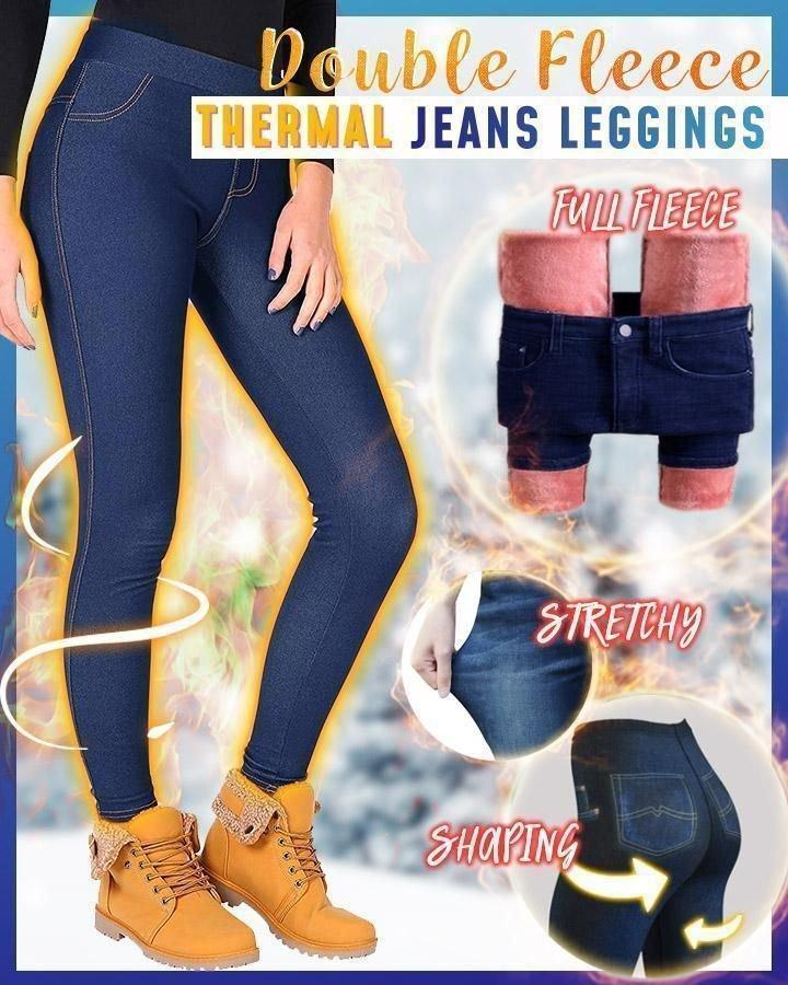 Double Fleece Thermal Jeans Leggings