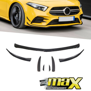 Merc A-Class W177 Gloss Black Front Lip Spoiler With Canards (7-Piece)