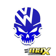 Load image into Gallery viewer, Universal VW Skull Vinyl Sticker (Blue)