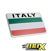 Load image into Gallery viewer, Aluminum Italy Flag Stick On Emblem Badge