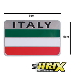 Aluminum Italy Flag Stick On Emblem Badge