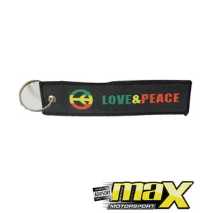 Love & Peace Embroidered Key Ring