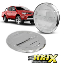 Load image into Gallery viewer, Mitsubishi Triton (06-10) Chrome Fuel Cap Covers With Triton Logo