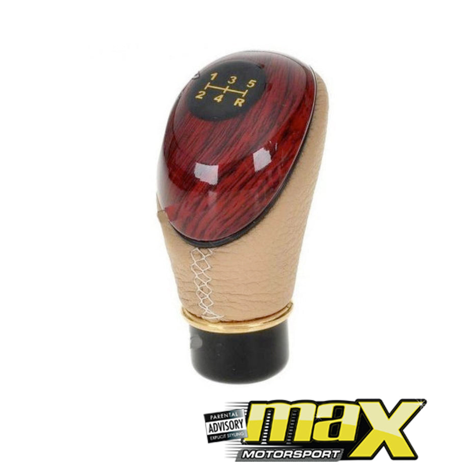 Universal Type-R Wood Grain Leather Look Gear Knob
