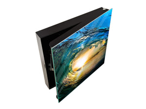Wall Mount Key Box together with Decorative Dry Erase Board K14 Worldly motives: Waves