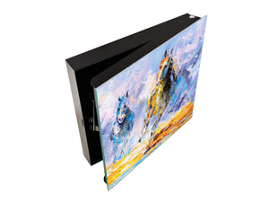 Wall Mount Key Box together with Decorative Dry Erase Board K14 Worldly motives: Horse run