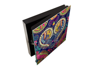Wall Mount Key Box together K01 Paisley pattern