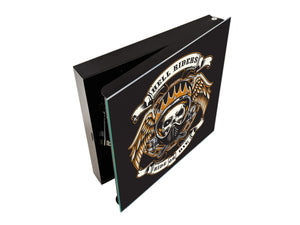 Key Cabinet together with Magnetic Glass Markerboard K03 Skull of biker in t-shirt
