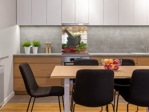 Stylish Tempered glass backsplash – Glass kitchen splashback BS01 Herbs Series: Mortar Herbs