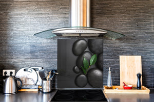 Unique Glass kitchen panel BS02 Stone Series: Leaf On The Stone 2
