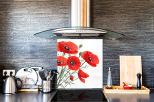 Glass kitchen backsplash – Photo backsplash BS03 Flower Series: Poppy On A White Background 2