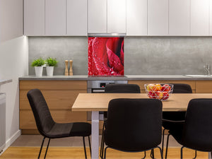 Glass kitchen backsplash – Photo backsplash BS03 Flower Series: Red Rose