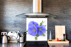 Glass kitchen backsplash – Photo backsplash BS03 Flower Series: Blue Flower 1
