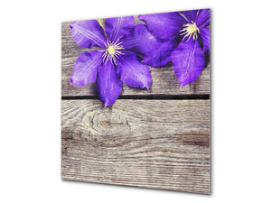Toughened glass backsplash BS 04 Dandelion and flowers series: Purple Flower 1