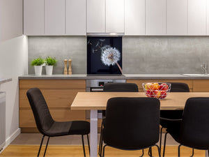 Toughened glass backsplash BS 04 Dandelion and flowers series: Black Dandelion