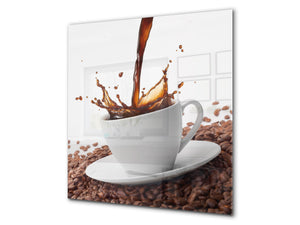 Printed Tempered glass wall art BS05A Coffee A Series: Spilled Coffee Beans 1