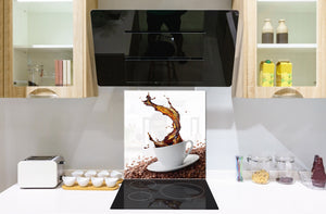 Printed Tempered glass wall art BS05A Coffee A Series: Spilled Coffee Beans 2
