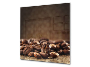 Printed Tempered glass wall art BS05A Coffee A Series: Coffee Beans Brown 3