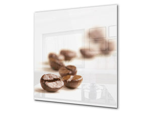 Printed Tempered glass wall art BS05A Coffee A Series: Coffee On White Background