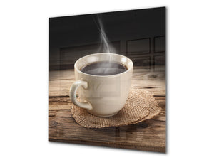 Printed Tempered glass wall art BS05A Coffee A Series: Black Coffee Brown