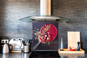 Stunning printed Glass backsplash BS06 Pastries and sweets: Piece Of Cake