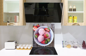 Stunning printed Glass backsplash BS06 Pastries and sweets: Strawberry Ice Cream