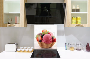 Tempered glass Cooker backsplash BS07 Desserts Series: Ice Cream Strawberry Fruit