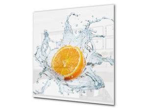 Glass kitchen splashback – Glass upstand BS09 Water splash Series: Orange In Water 1