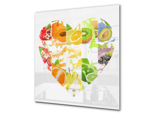 Glass kitchen splashback – Glass upstand BS09 Water splash Series: Heart Of Fruit