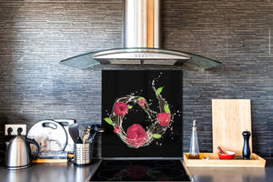 Glass kitchen splashback – Glass upstand BS09 Water splash Series: Raspberry In Water