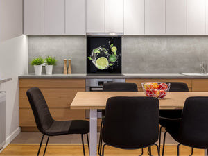 Glass kitchen splashback – Glass upstand BS09 Water splash Series: Lime In Water 5