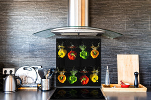 Art design Glass Upstand  BS10 Peppers Series: Colorful Peppers