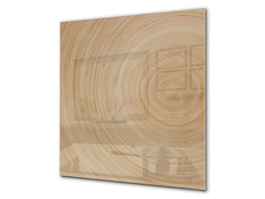 Glass kitchen backsplash –Photo backsplash BS11 Wood and wall textures Series: Tree Rings