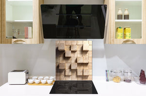 Glass kitchen backsplash –Photo backsplash BS11 Wood and wall textures Series: Wood Squares