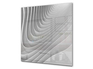 Toughened glass backsplash BS 12 White and grey textures Series: Geometry Abstraction 2