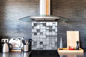 Toughened glass backsplash BS 12 White and grey textures Series: Geometry Squares 1