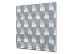 Toughened glass backsplash BS 12 White and grey textures Series: Geometry Abstraction 5