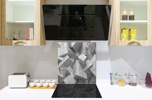 Toughened glass backsplash BS 12 White and grey textures Series: Design Geometry 1