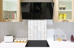 Toughened glass backsplash BS 12 White and grey textures Series: The Geometry Of The Rectangle