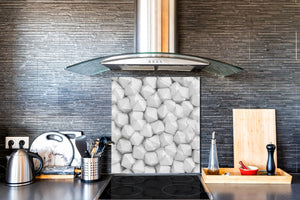 Toughened glass backsplash BS 12 White and grey textures Series: Geometry Squares 2