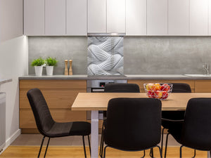 Toughened glass backsplash BS 12 White and grey textures Series: Design Geometry 2