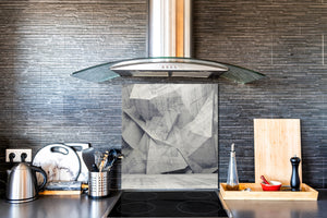 Toughened glass backsplash BS 12 White and grey textures Series: Concrete Geometry 1