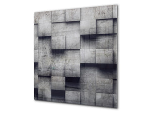 Toughened glass backsplash BS 12 White and grey textures Series: Geometry Squares 3